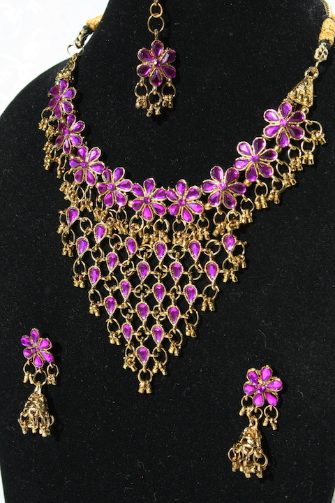 Lila Gold Bollywood Braut Schmuckset Collier Ohrringe Tika zum Sari